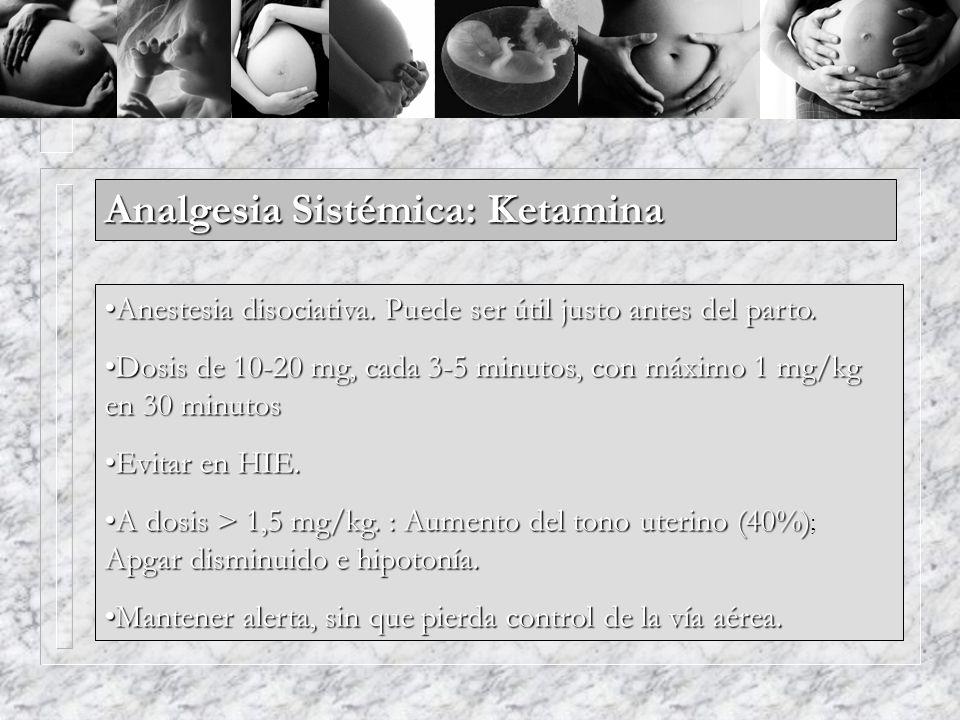 Analgesia Sistémica: Ketamina Anestesia disociativa. Puede ser útil justo antes del parto.Anestesia disociativa. Puede ser útil justo antes del parto.