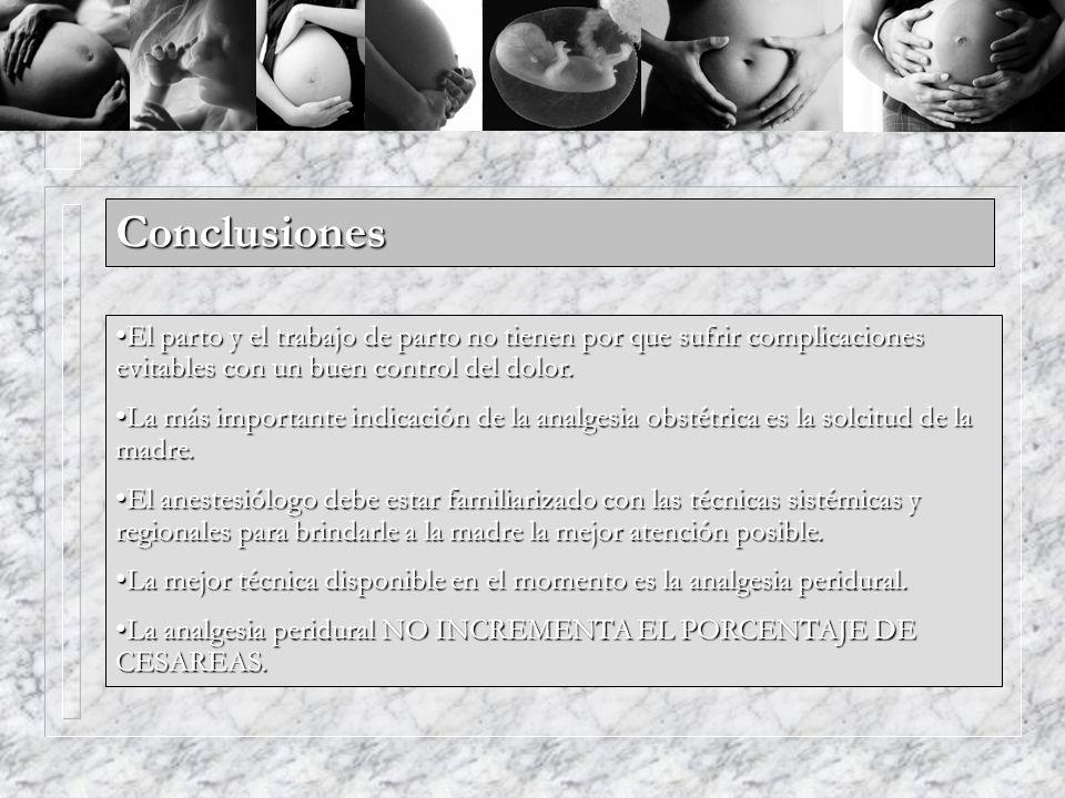 Conclusiones El parto y el trabajo de parto no tienen por que sufrir complicaciones evitables con un buen control del dolor.El parto y el trabajo de p