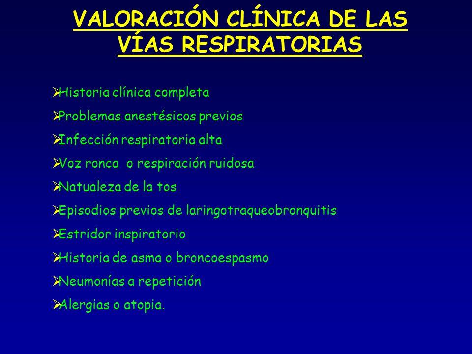 VALORACIÓN CLÍNICA DE LAS VÍAS RESPIRATORIAS Historia clínica completa Problemas anestésicos previos Infección respiratoria alta Voz ronca o respiración ruidosa Natualeza de la tos Episodios previos de laringotraqueobronquitis Estridor inspiratorio Historia de asma o broncoespasmo Neumonías a repetición Alergias o atopia.