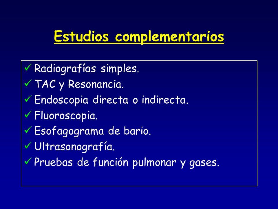 Estudios complementarios Radiografías simples. TAC y Resonancia. Endoscopia directa o indirecta. Fluoroscopia. Esofagograma de bario. Ultrasonografía.