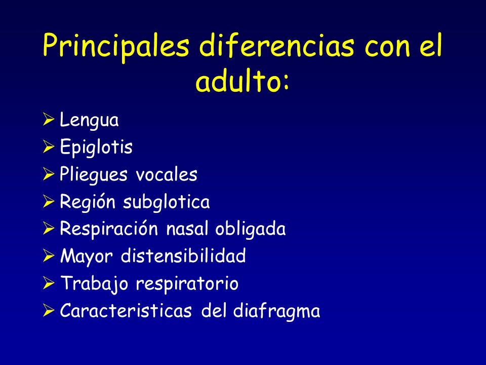 Principales diferencias con el adulto: Lengua Epiglotis Pliegues vocales Región subglotica Respiración nasal obligada Mayor distensibilidad Trabajo respiratorio Caracteristicas del diafragma