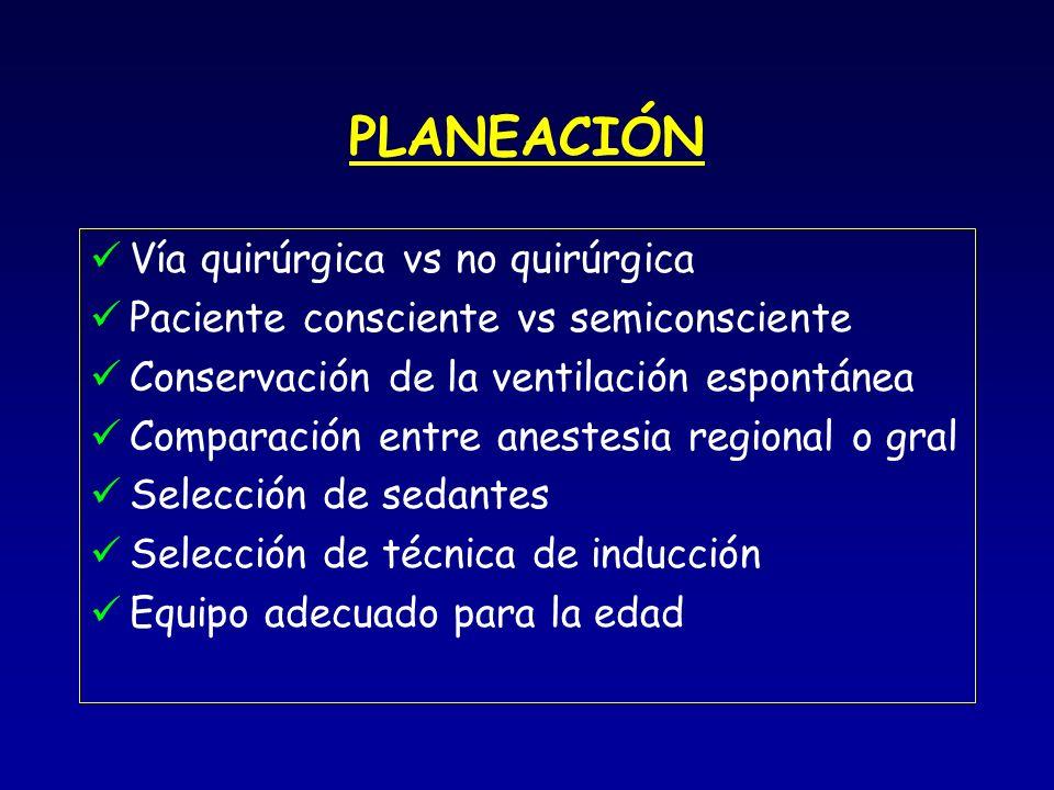 PLANEACIÓN Vía quirúrgica vs no quirúrgica Paciente consciente vs semiconsciente Conservación de la ventilación espontánea Comparación entre anestesia