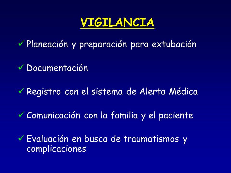 VIGILANCIA Planeación y preparación para extubación Documentación Registro con el sistema de Alerta Médica Comunicación con la familia y el paciente Evaluación en busca de traumatismos y complicaciones