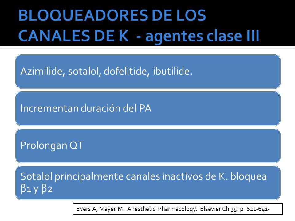 Azimilide, sotalol, dofelitide, ibutilide.Incrementan duración del PAProlongan QT Sotalol principalmente canales inactivos de K. bloquea β1 y β2 Evers