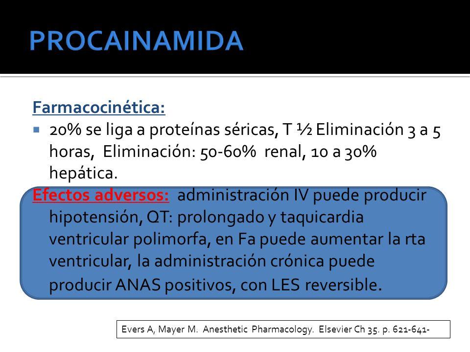Farmacocinética: 20% se liga a proteínas séricas, T ½ Eliminación 3 a 5 horas, Eliminación: 50-60% renal, 10 a 30% hepática.