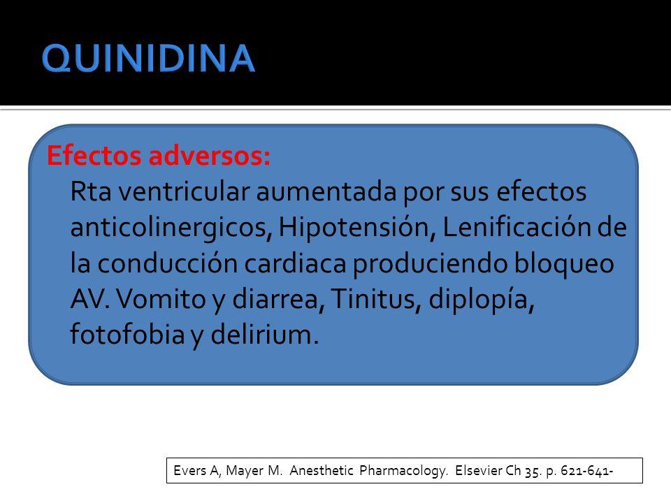 Efectos adversos: Rta ventricular aumentada por sus efectos anticolinergicos, Hipotensión, Lenificación de la conducción cardiaca produciendo bloqueo AV.