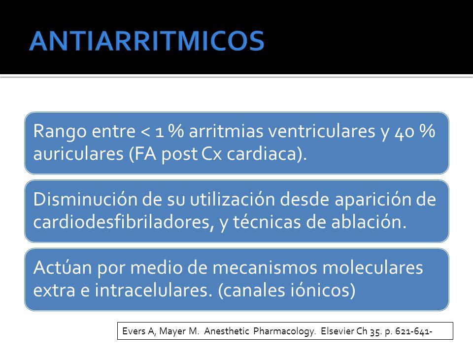 Rango entre < 1 % arritmias ventriculares y 40 % auriculares (FA post Cx cardiaca). Disminución de su utilización desde aparición de cardiodesfibrilad