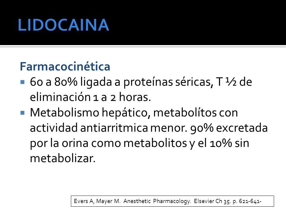 Farmacocinética 60 a 80% ligada a proteínas séricas, T ½ de eliminación 1 a 2 horas. Metabolismo hepático, metabolítos con actividad antiarritmica men