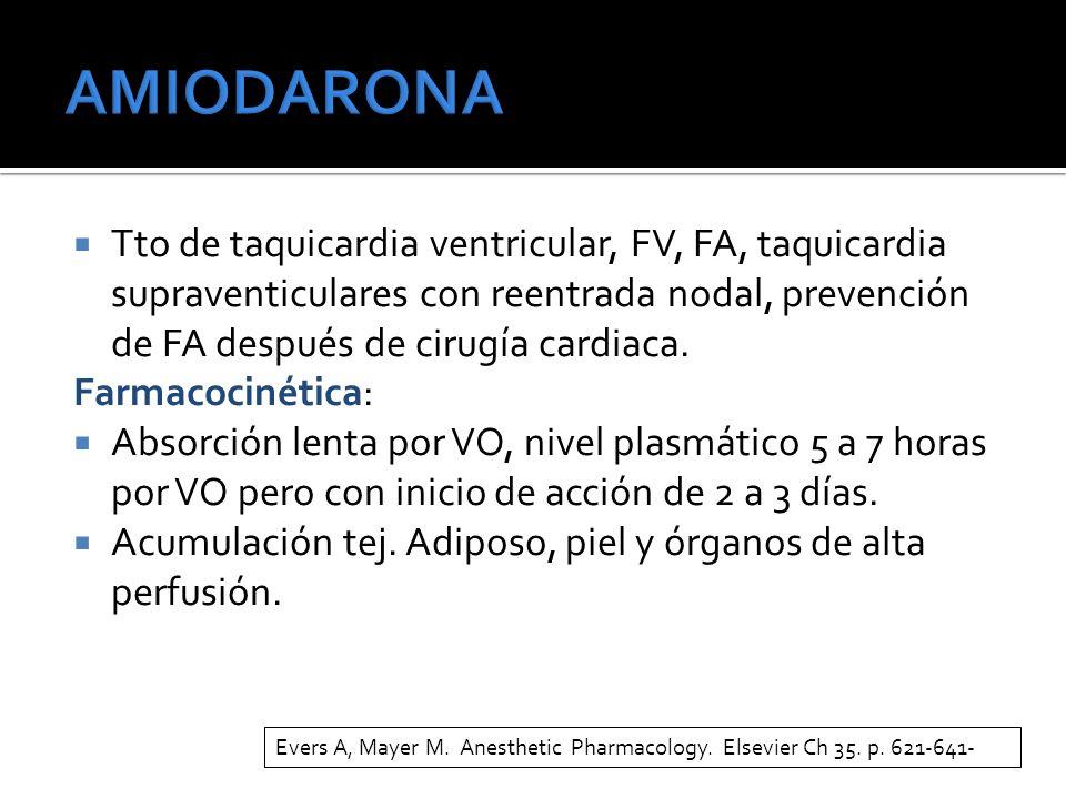 Tto de taquicardia ventricular, FV, FA, taquicardia supraventiculares con reentrada nodal, prevención de FA después de cirugía cardiaca. Farmacocinéti