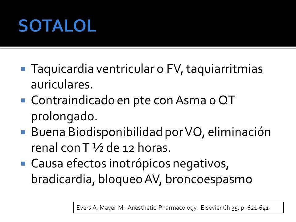 Taquicardia ventricular o FV, taquiarritmias auriculares. Contraindicado en pte con Asma o QT prolongado. Buena Biodisponibilidad por VO, eliminación