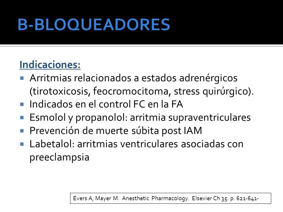 Indicaciones: Arritmias relacionados a estados adrenérgicos (tirotoxicosis, feocromocitoma, stress quirúrgico). Indicados en el control FC en la FA Es