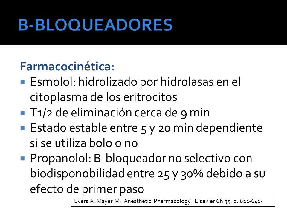 Farmacocinética: Esmolol: hidrolizado por hidrolasas en el citoplasma de los eritrocitos T1/2 de eliminación cerca de 9 min Estado estable entre 5 y 20 min dependiente si se utiliza bolo o no Propanolol: B-bloqueador no selectivo con biodisponobilidad entre 25 y 30% debido a su efecto de primer paso Evers A, Mayer M.
