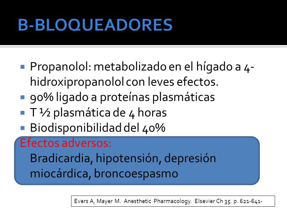 Propanolol: metabolizado en el hígado a 4- hidroxipropanolol con leves efectos. 90% ligado a proteínas plasmáticas T ½ plasmática de 4 horas Biodispon
