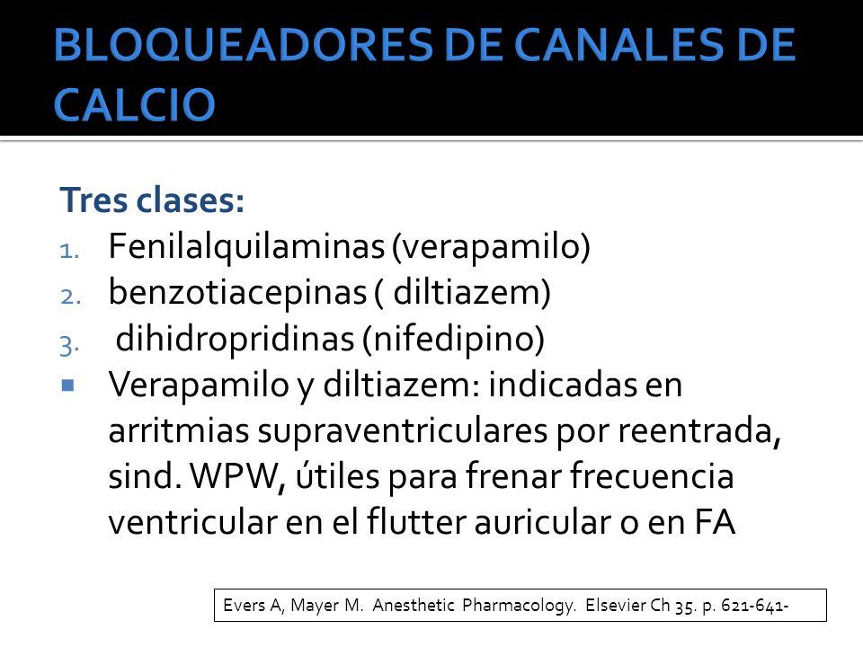 Tres clases: 1. Fenilalquilaminas (verapamilo) 2. benzotiacepinas ( diltiazem) 3. dihidropridinas (nifedipino) Verapamilo y diltiazem: indicadas en ar