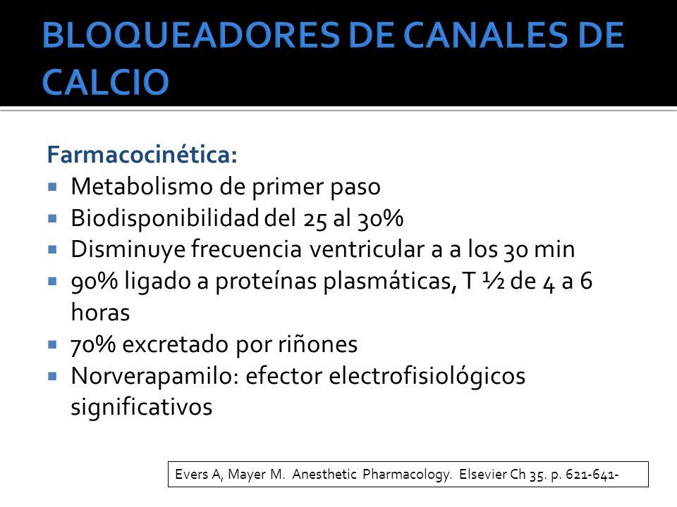 Farmacocinética: Metabolismo de primer paso Biodisponibilidad del 25 al 30% Disminuye frecuencia ventricular a a los 30 min 90% ligado a proteínas plasmáticas, T ½ de 4 a 6 horas 70% excretado por riñones Norverapamilo: efector electrofisiológicos significativos Evers A, Mayer M.