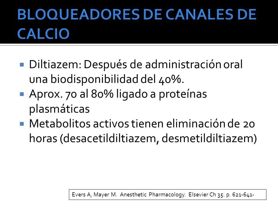 Diltiazem: Después de administración oral una biodisponibilidad del 40%. Aprox. 70 al 80% ligado a proteínas plasmáticas Metabolitos activos tienen el