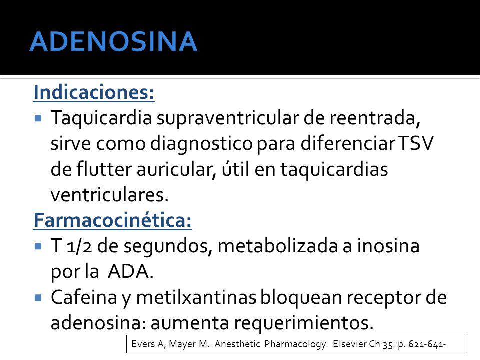 Indicaciones: Taquicardia supraventricular de reentrada, sirve como diagnostico para diferenciar TSV de flutter auricular, útil en taquicardias ventriculares.