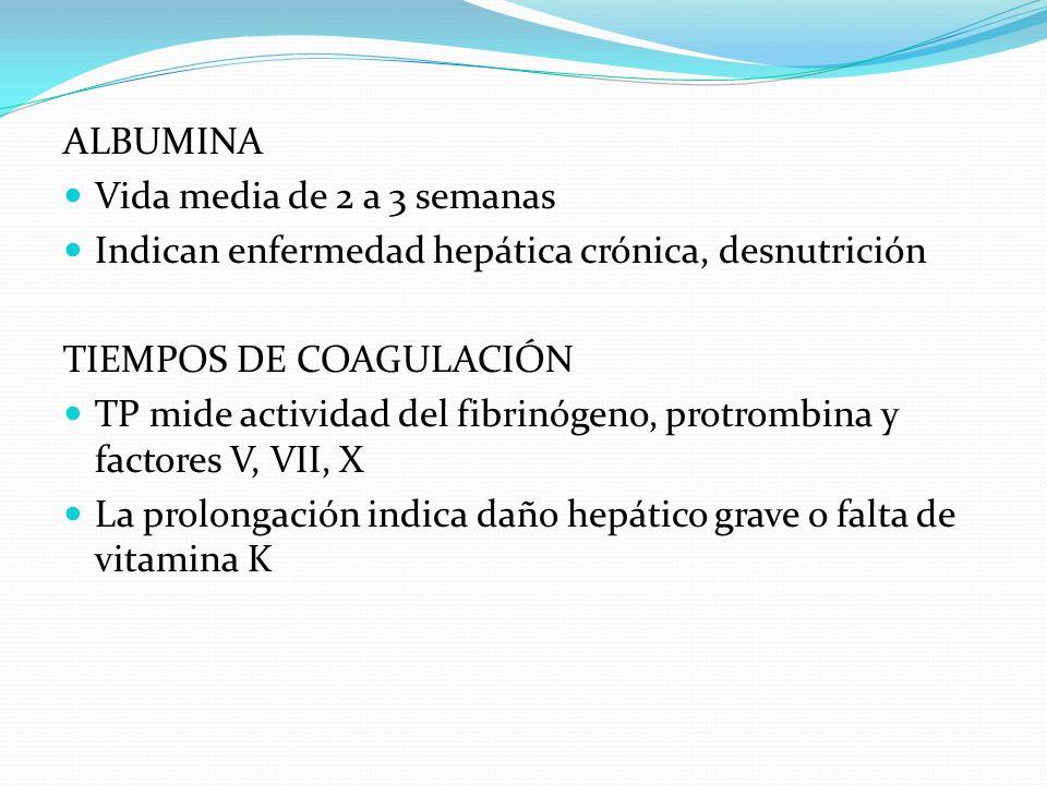 ALBUMINA Vida media de 2 a 3 semanas Indican enfermedad hepática crónica, desnutrición TIEMPOS DE COAGULACIÓN TP mide actividad del fibrinógeno, protr