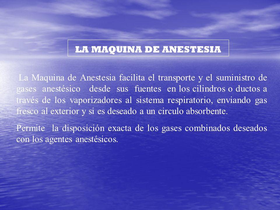 LA MAQUINA DE ANESTESIA La Maquina de Anestesia facilita el transporte y el suministro de gases anestésico desde sus fuentes en los cilindros o ductos