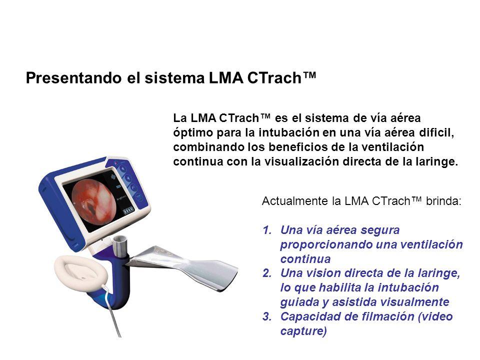 El sistema LMA CTrach – ETTs LMA desechables El ETT LMA desechable esta específicamente diseñado para permitir la intubación atraumática 1.Un tubo recto reforzado con alambre emerge de la vía aérea en el ángulo correcto para pasar a través de las cuerdas vocales 2.La punta es hemisférica y extremadamente suave 3.El ETT ha sido diseñado con un balón de baja presión y alto volumen 4.El ETT posee un conector desprendible de 15mm