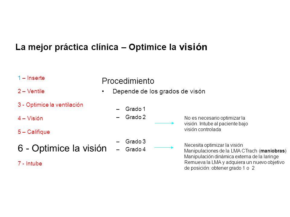 Procedimiento Depende de los grados de visón –Grado 1 –Grado 2 –Grado 3 –Grado 4 No es necesario optimizar la visión. Intube al paciente bajo visión c