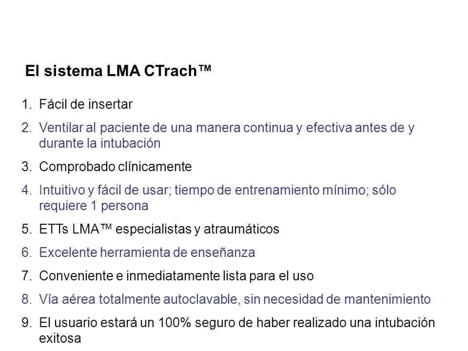 El sistema LMA CTrach 1.Fácil de insertar 2.Ventilar al paciente de una manera continua y efectiva antes de y durante la intubación 3.Comprobado clíni