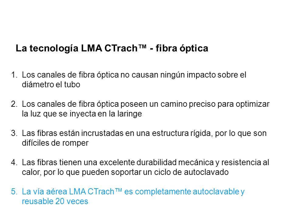 La tecnología LMA CTrach – EEB modificado Barra modificada de elevación epiglótica – ahora con una apertura o ventanilla de observación 1.Permite el ingreso ininterrumpido de una fuente de luz para iluminar la laringe 2.Dos manojos de fibra óptica emergen en el extremo distal del tubo de la vía aérea debajo de la barra de elevación epiglótica 3.Los manojos emergen en el ángulo preciso para optimizar la inyección de luz en la laringe y así generar una imagen óptima