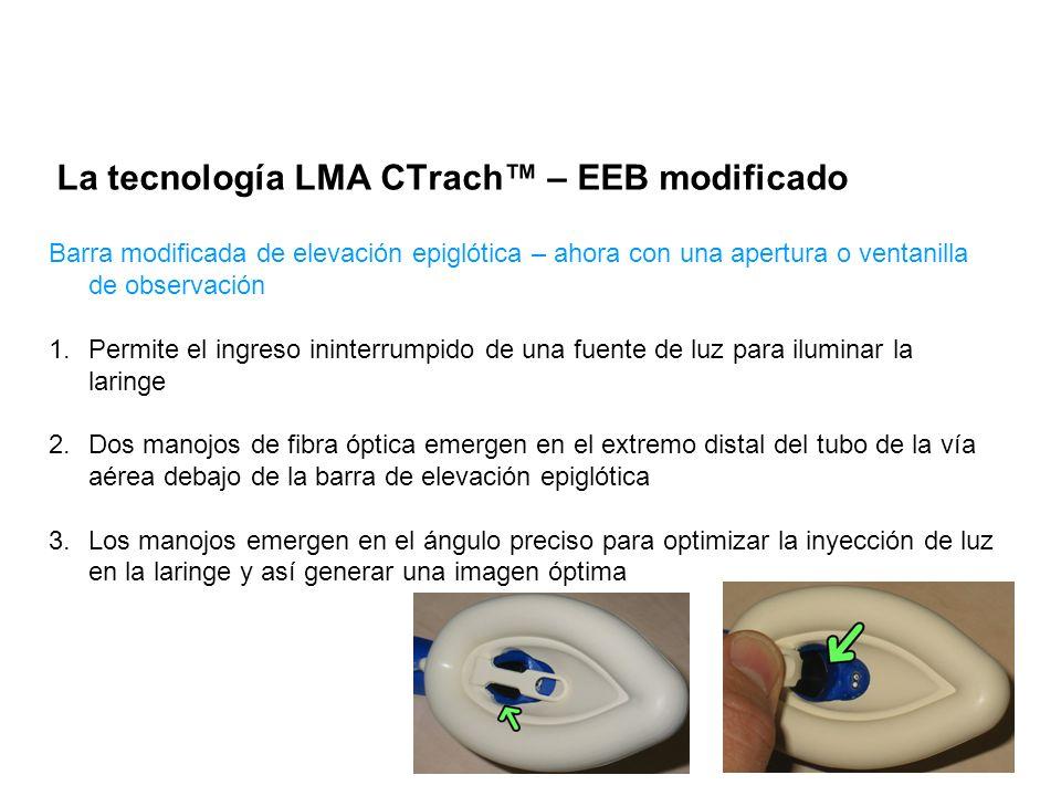 La tecnología LMA CTrach – EEB modificado Barra modificada de elevación epiglótica – ahora con una apertura o ventanilla de observación 1.Permite el i