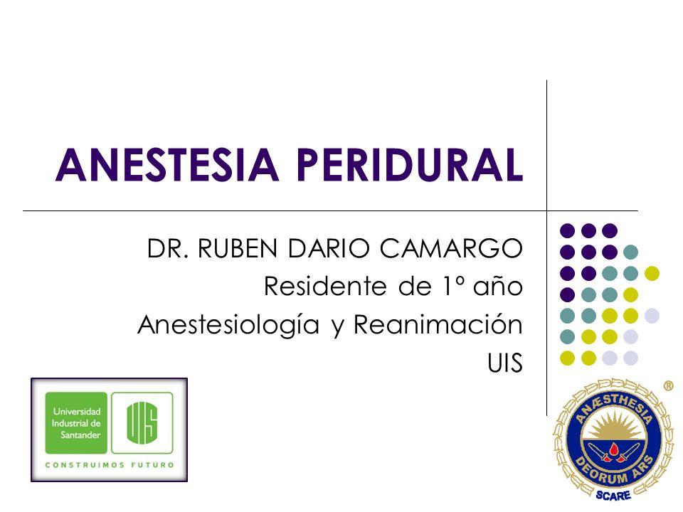 ANESTESIA PERIDURAL DR. RUBEN DARIO CAMARGO Residente de 1º año Anestesiología y Reanimación UIS