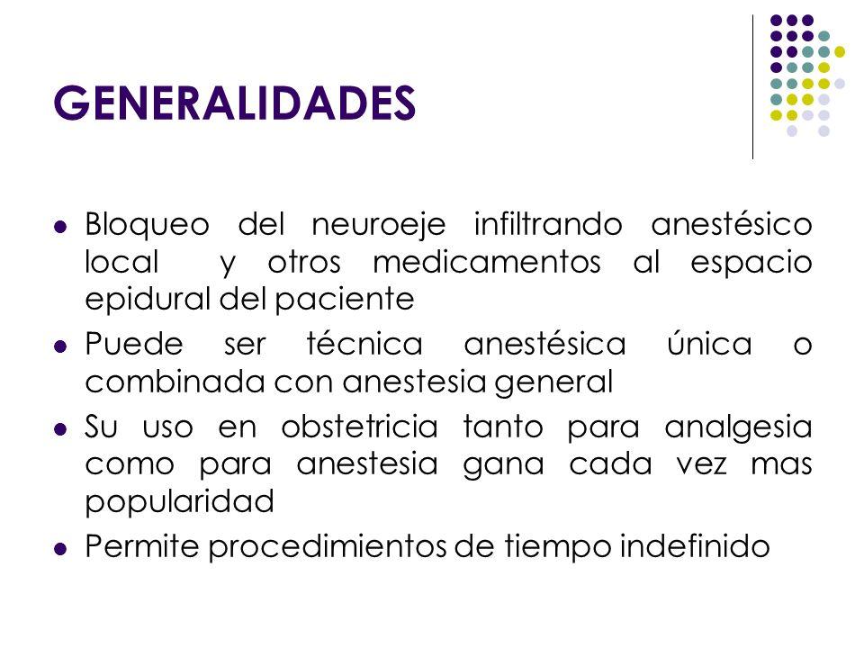GENERALIDADES Bloqueo del neuroeje infiltrando anestésico local y otros medicamentos al espacio epidural del paciente Puede ser técnica anestésica úni