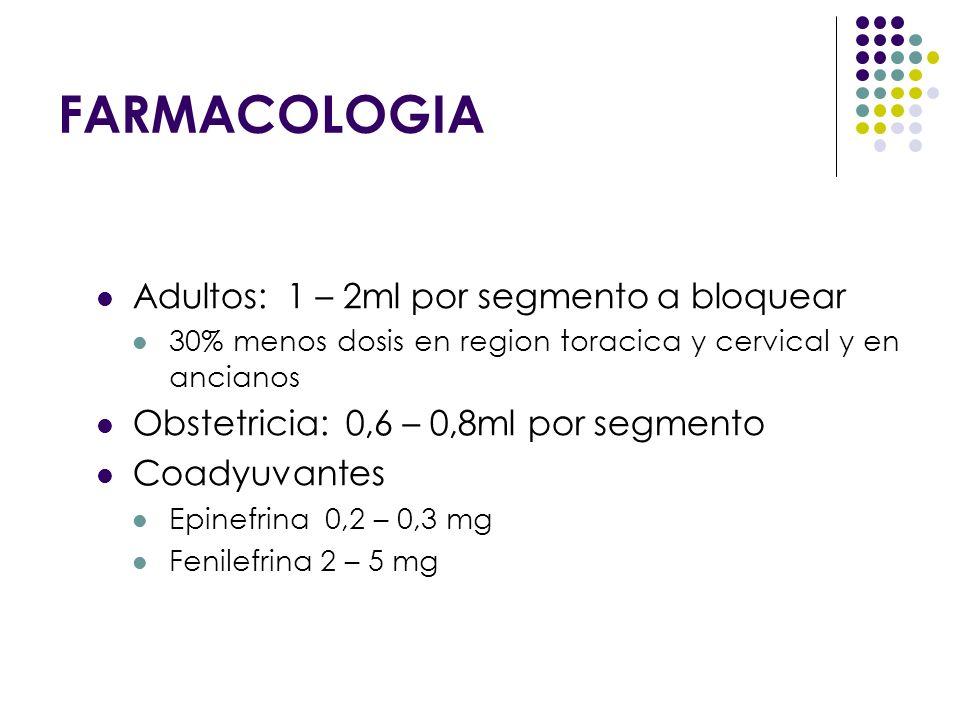 Adultos: 1 – 2ml por segmento a bloquear 30% menos dosis en region toracica y cervical y en ancianos Obstetricia: 0,6 – 0,8ml por segmento Coadyuvante
