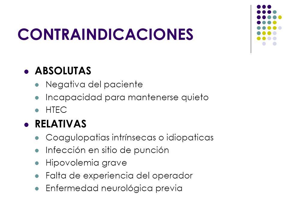 CONTRAINDICACIONES ABSOLUTAS Negativa del paciente Incapacidad para mantenerse quieto HTEC RELATIVAS Coagulopatias intrínsecas o idiopaticas Infección