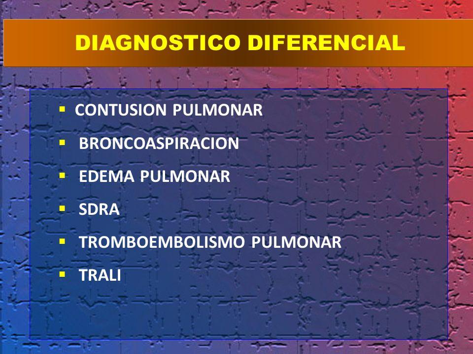 CONTUSION PULMONAR BRONCOASPIRACION EDEMA PULMONAR SDRA TROMBOEMBOLISMO PULMONAR TRALI DIAGNOSTICO DIFERENCIAL