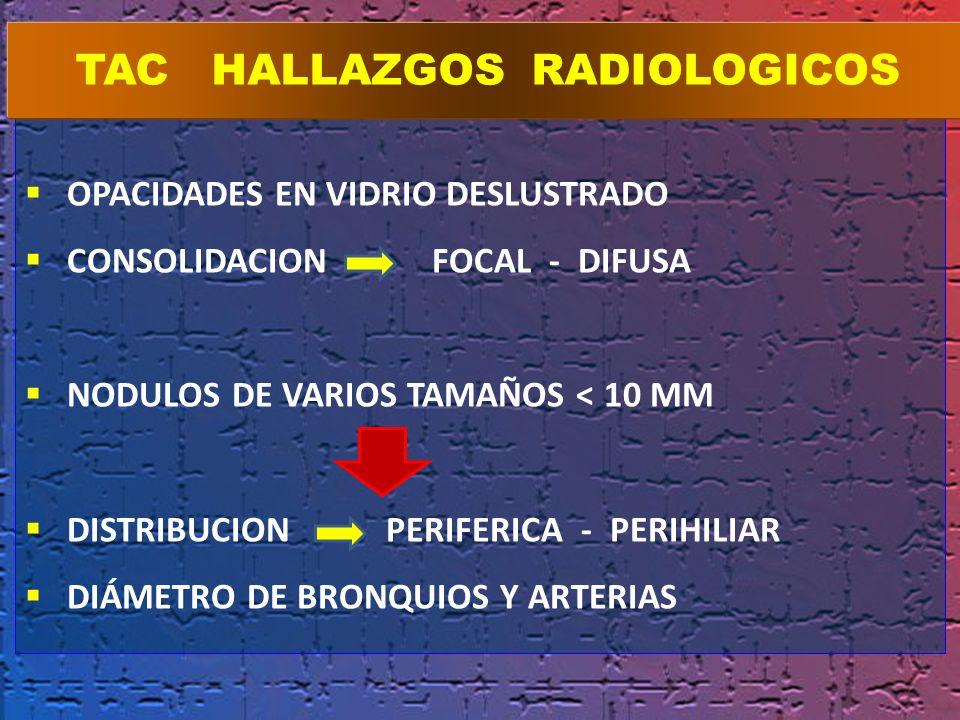 OPACIDADES EN VIDRIO DESLUSTRADO CONSOLIDACION FOCAL - DIFUSA NODULOS DE VARIOS TAMAÑOS < 10 MM DISTRIBUCION PERIFERICA - PERIHILIAR DIÁMETRO DE BRONQ