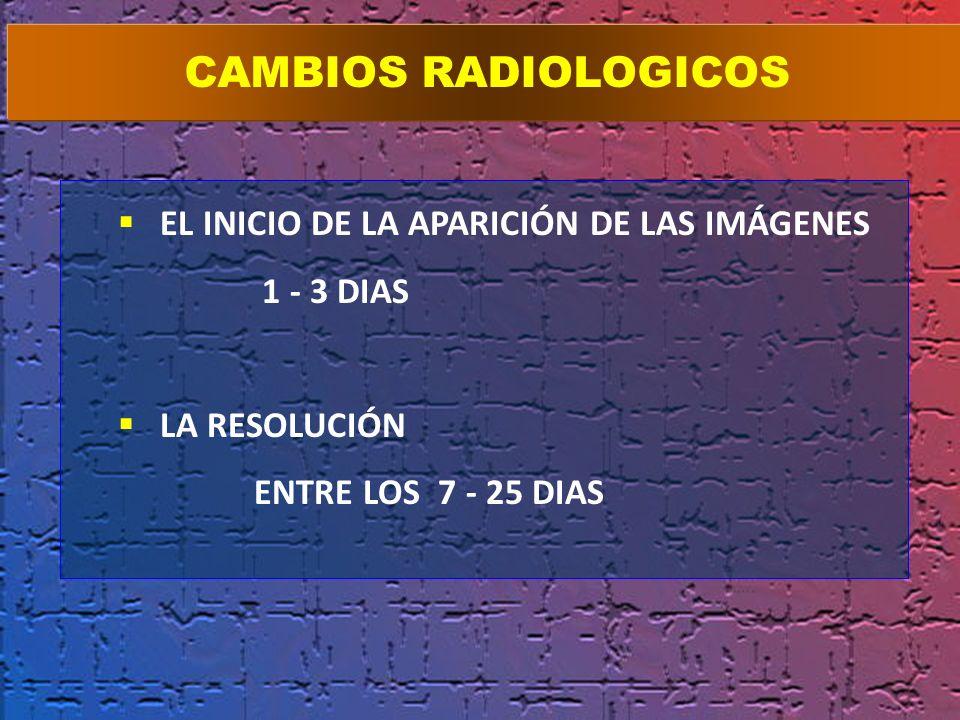 EL INICIO DE LA APARICIÓN DE LAS IMÁGENES 1 - 3 DIAS LA RESOLUCIÓN ENTRE LOS 7 - 25 DIAS CAMBIOS RADIOLOGICOS