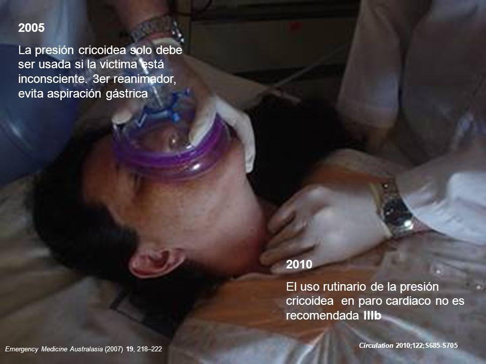 2010 En pacientes con cardiodesfibrilador externo la localización antero posterior y antero lateral son aceptables la colocación de las paletas no debe retrasar la desfibrilación.