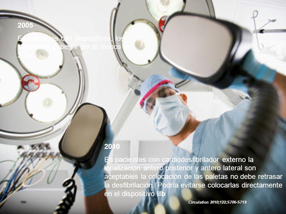 2010 Recomendación dosis bifásica inicial en cardioversión de fibrilación auricular 120 – 200 jouls y con monofásico 200 jouls IIa Taquicardia ventricular monomórfica: 100jouls monofásico o bifásica.