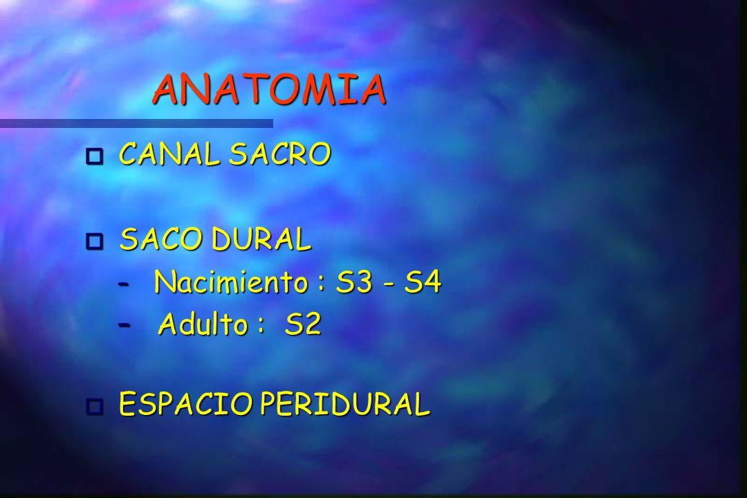 ANATOMIA o CANAL SACRO o SACO DURAL – Nacimiento : S3 - S4 – Adulto : S2 ESPACIO PERIDURAL ESPACIO PERIDURAL