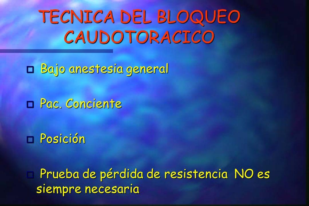 TECNICA DEL BLOQUEO CAUDOTORACICO Bajo anestesia general Bajo anestesia general o Pac.