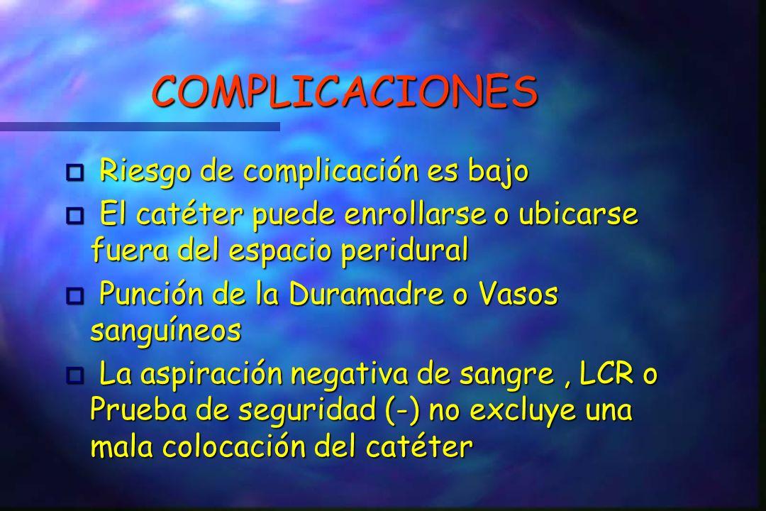 COMPLICACIONES Riesgo de complicación es bajo Riesgo de complicación es bajo o El catéter puede enrollarse o ubicarse fuera del espacio peridural o Punción de la Duramadre o Vasos sanguíneos o La aspiración negativa de sangre, LCR o Prueba de seguridad (-) no excluye una mala colocación del catéter