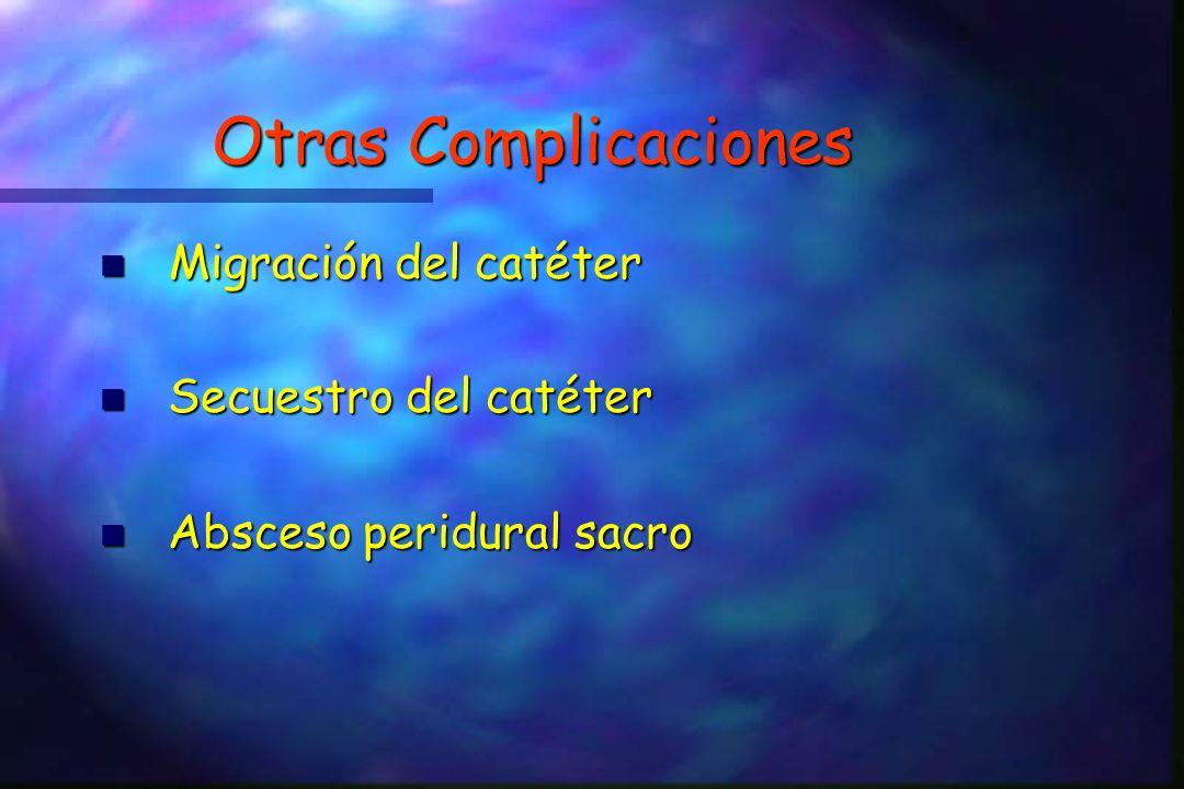 Otras Complicaciones Migración del catéter Migración del catéter n Secuestro del catéter n Absceso peridural sacro