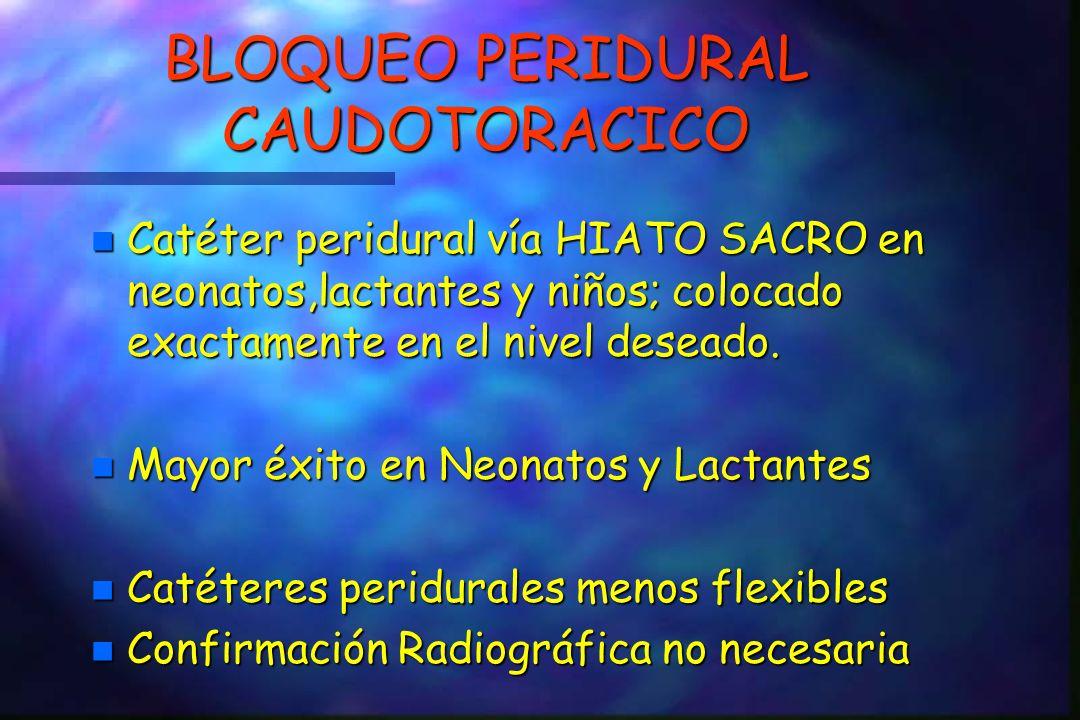 BLOQUEO PERIDURAL CAUDOTORACICO n Catéter peridural vía HIATO SACRO en neonatos,lactantes y niños; colocado exactamente en el nivel deseado.