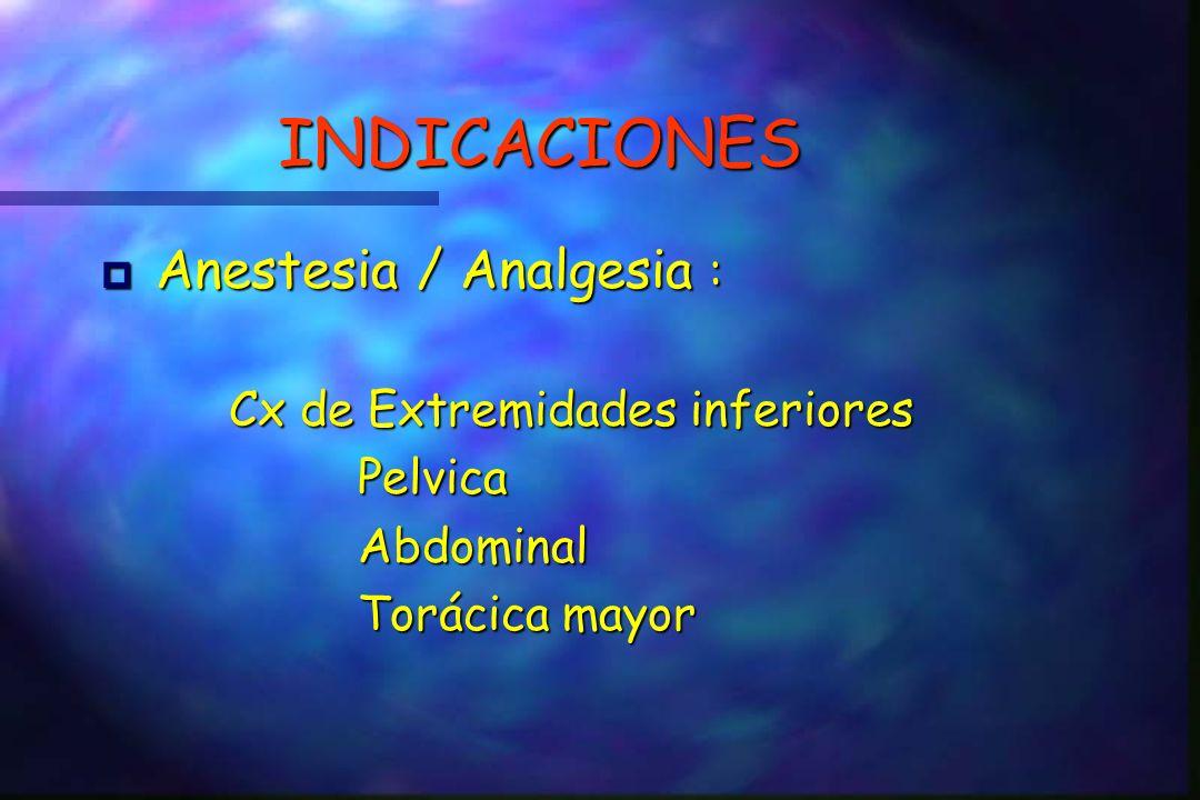 INDICACIONES Anestesia / Analgesia : Anestesia / Analgesia : Cx de Extremidades inferiores Cx de Extremidades inferiores Pelvica Pelvica Abdominal Abdominal Torácica mayor Torácica mayor