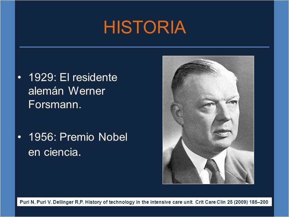 HISTORIA 1929: El residente alemán Werner Forsmann. 1956: Premio Nobel en ciencia. Puri N. Puri V. Dellinger R,P. History of technology in the intensi