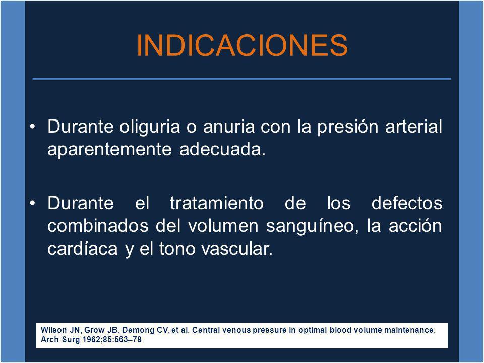 INDICACIONES Durante oliguria o anuria con la presión arterial aparentemente adecuada. Durante el tratamiento de los defectos combinados del volumen s