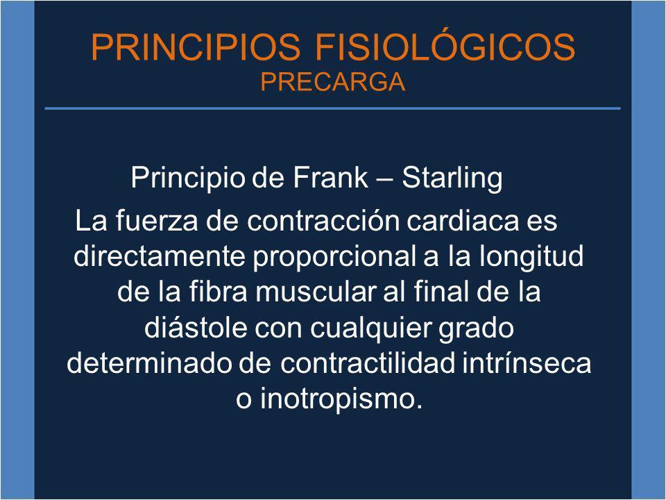 PRINCIPIOS FISIOLÓGICOS PRECARGA Principio de Frank – Starling La fuerza de contracción cardiaca es directamente proporcional a la longitud de la fibr