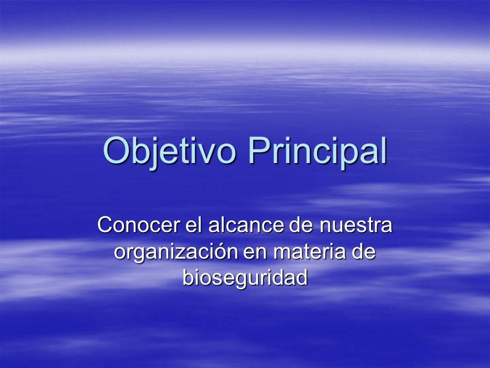 Objetivo Principal Conocer el alcance de nuestra organización en materia de bioseguridad