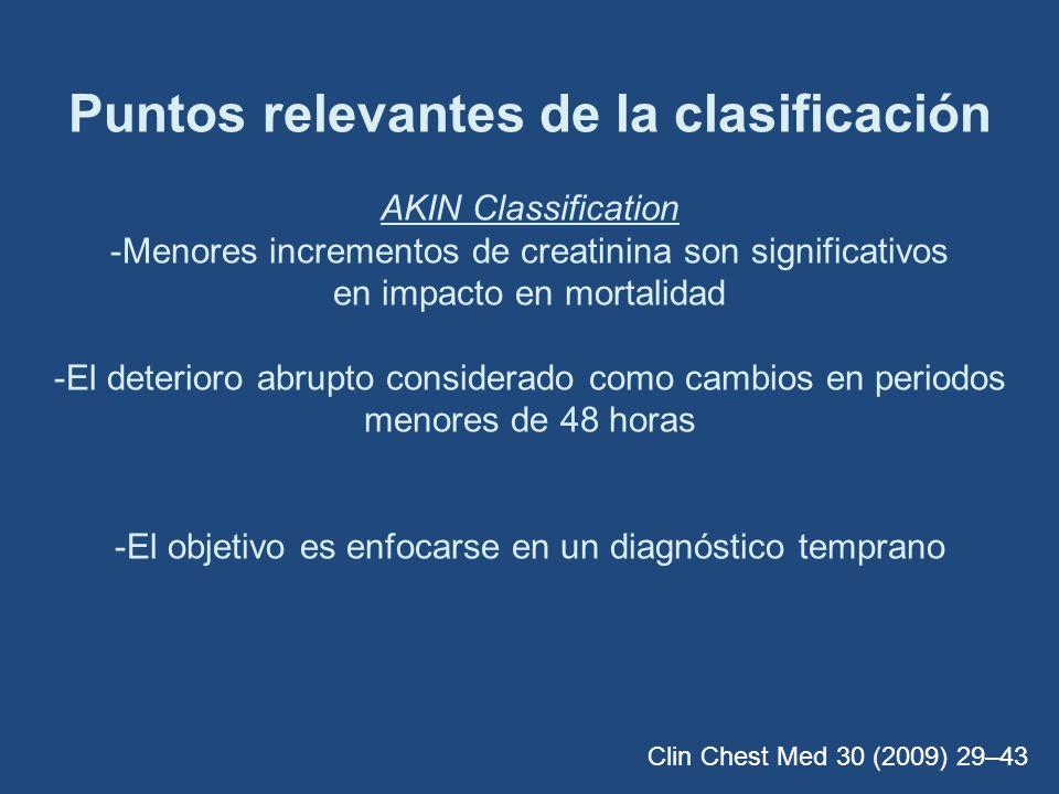 Puntos relevantes de la clasificación AKIN Classification -Menores incrementos de creatinina son significativos en impacto en mortalidad -El deterioro