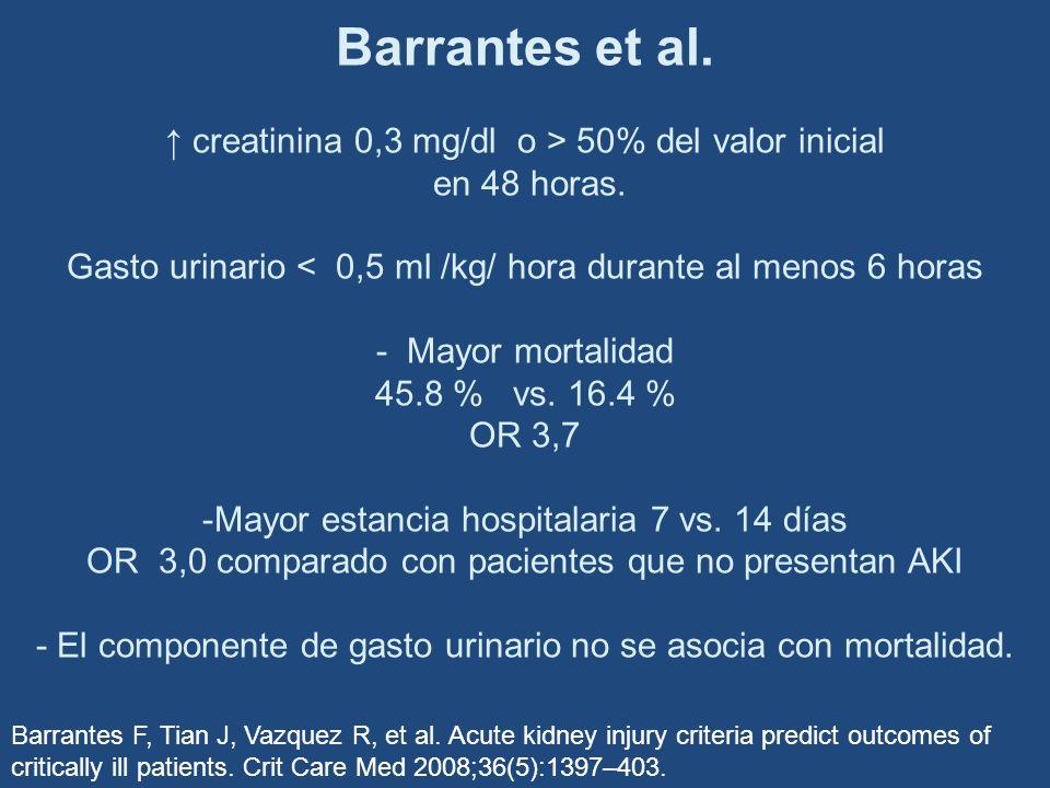 Barrantes et al. creatinina 0,3 mg/dl o > 50% del valor inicial en 48 horas. Gasto urinario < 0,5 ml /kg/ hora durante al menos 6 horas - Mayor mortal