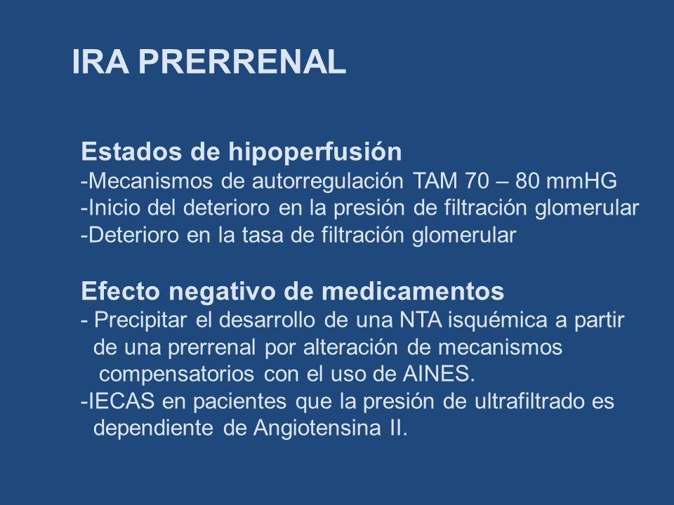 IRA PRERRENAL Estados de hipoperfusión -Mecanismos de autorregulación TAM 70 – 80 mmHG -Inicio del deterioro en la presión de filtración glomerular -D